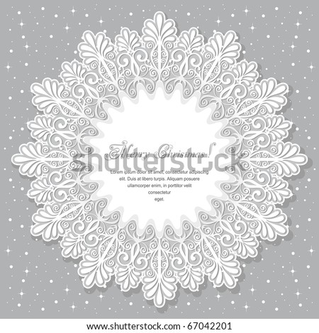 Christmas background with a large snowflake - stock vector