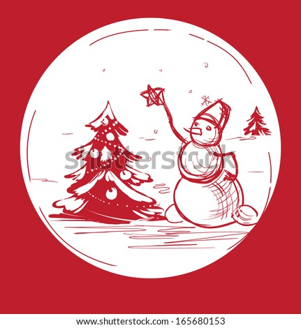 Christmas background with a  snowman dressed tree - stock vector