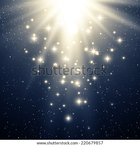 Christmas background with abstract magic light and star - stock vector