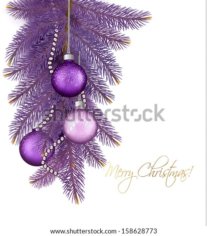 Christmas background with balls and branches. Vector illustration - stock vector