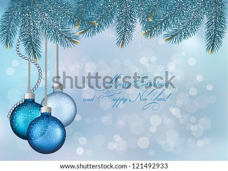 Christmas background with balls and fir branches  Vector illustration - stock vector