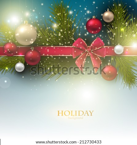 Christmas background with balls and fir twig. Colorful Xmas baubles. Vector - stock vector