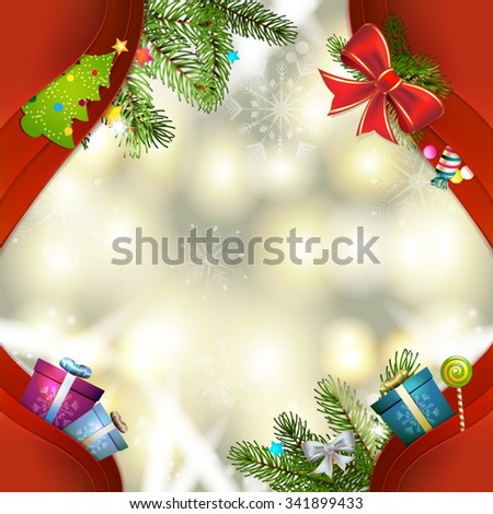 Christmas background with balls and pine tree - stock vector
