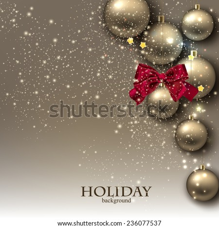 Christmas background with balls. Golden Xmas baubles. Vector - stock vector