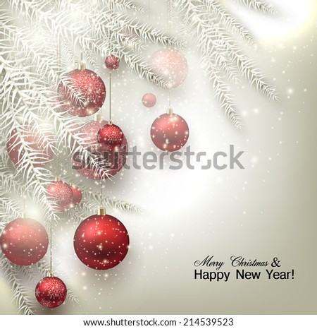 Christmas background with balls. Red Xmas baubles. Vector - stock vector