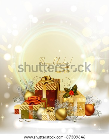 Christmas background with baubles and Christmas gifts - stock vector