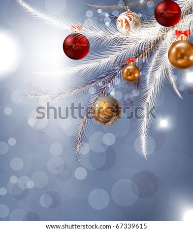 christmas background with baubles and christmas tree - stock vector
