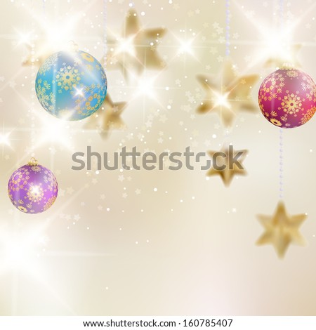 Christmas background with baubles. EPS10 - stock vector