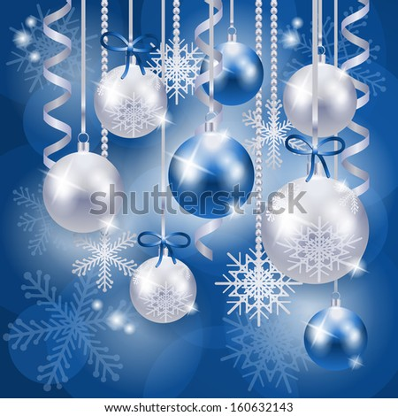 Christmas background with baubles in blue, vector - stock vector