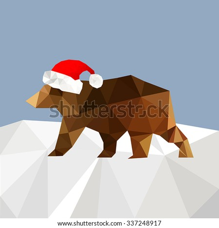 Christmas background with bear wearing santa hat - stock vector