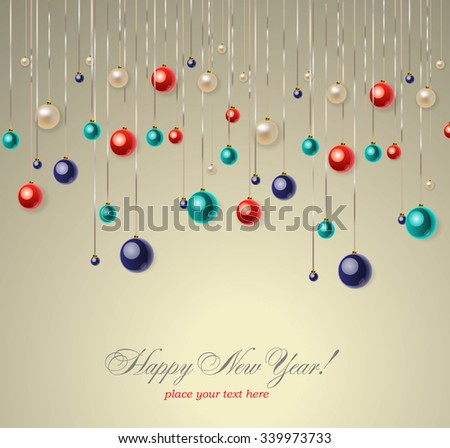 Christmas background with blue and red balls. Vector illustration. - stock vector