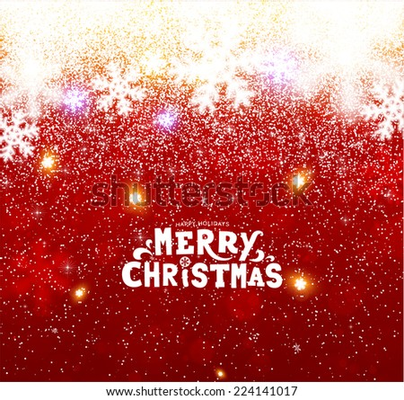 Christmas Background with Blurred Snowflakes, vector - stock vector