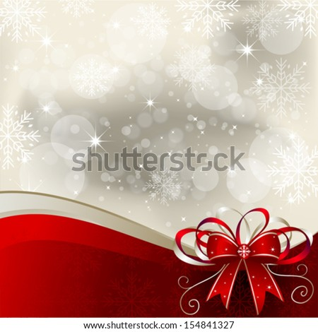 Christmas Background with Bow - Illustration - stock vector