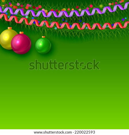 Christmas background with branches of fir trees and Christmas decorations. Vector illustration.  - stock vector