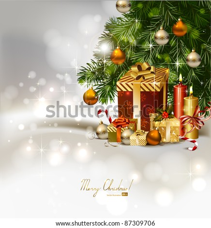 Christmas background with burning candles and Christmas gifts  under the fir tree - stock vector