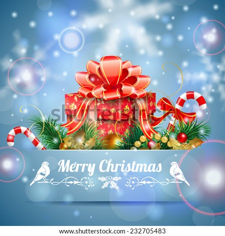 Christmas Background with Candy, Fir Branches, Mistletoe and Gift in Pocket on Bright background, vector illustration. - stock vector