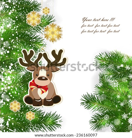 Christmas background with Christmas decor and green branches of Christmas tree. - stock vector