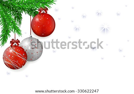 Christmas background with christmas red and silver balls, spruce and snowflakes - vector illustration - stock vector