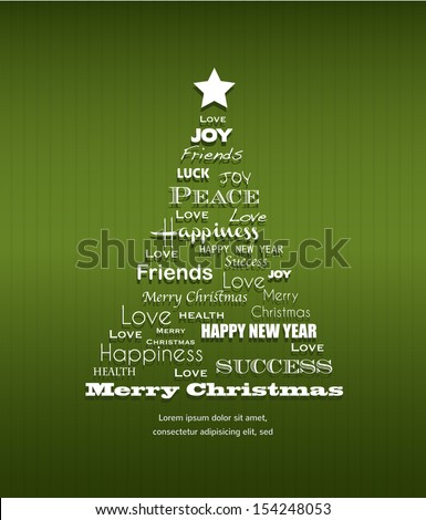Christmas background with Christmas tree full of greetings - stock vector