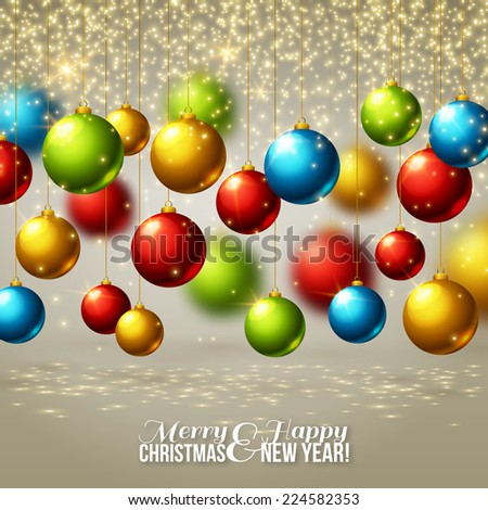 Christmas background with colorful balls. Vector illustration. Lights, sparkles. Design for invitations or announcements. Season greetings. - stock vector