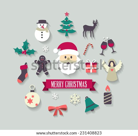 Christmas background with cute icons. Can be used as a greetings card or as individual icons. - stock vector