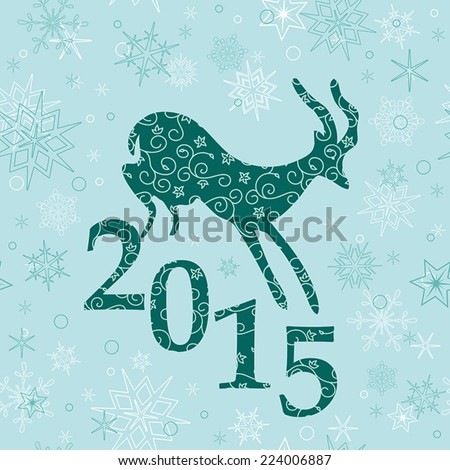 christmas background with emerald goat - vector - stock vector