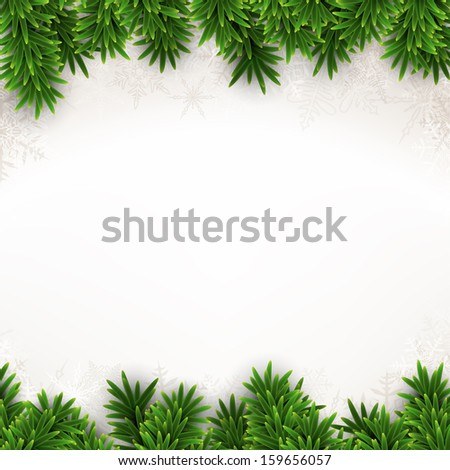 Christmas background with fir and snowflakes. Vector illustration.  - stock vector