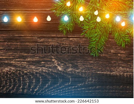 Christmas background with fir branch & lights. Vector illustration  - stock vector