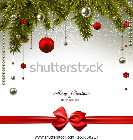 Christmas background with fir twigs and red balls. Vector illustration.  - stock vector