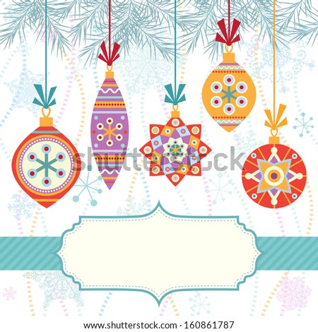 Christmas background with frame and colorful balls - stock vector