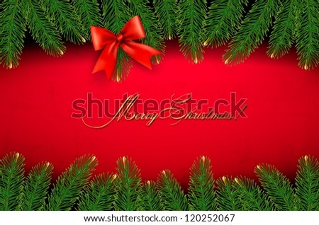 Christmas background with gift bow and fir branches. Vector illustration - stock vector