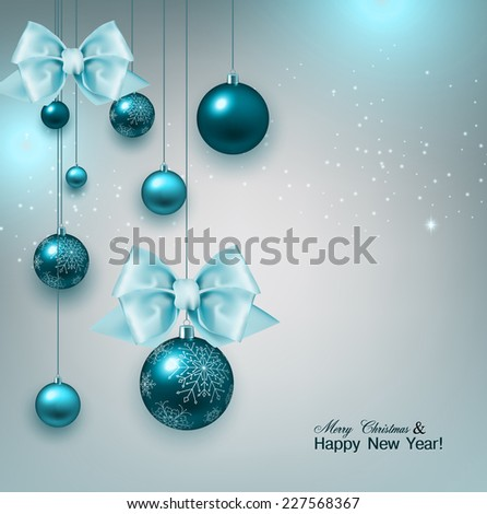 Christmas background with gifts and blue balls. Xmas baubles.Vector illustration. - stock vector