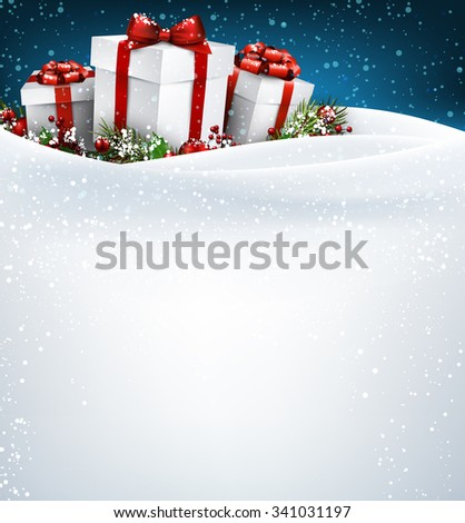 Christmas background with gifts. Vector paper illustration. - stock vector
