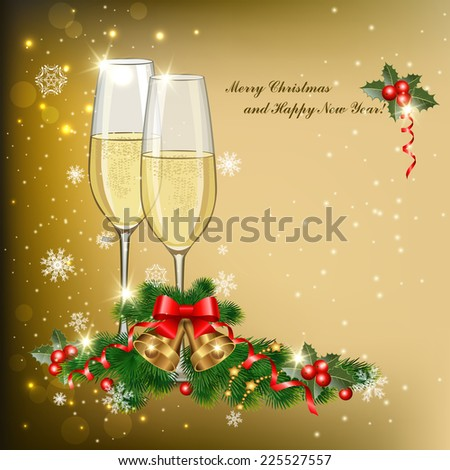 Christmas background with glasses of champagne, fir tree branches and bells - stock vector