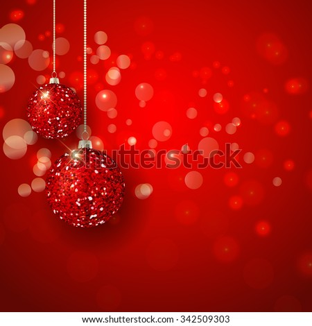 Christmas background with glittery baubles - stock vector
