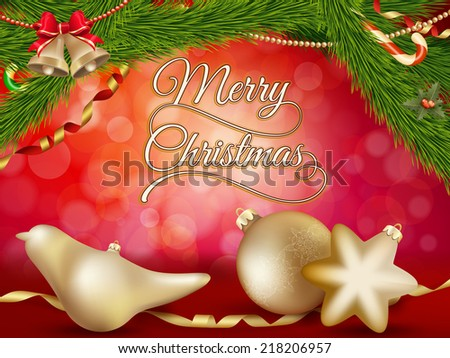 Christmas background with gold baubles. EPS 10 vector file included - stock vector