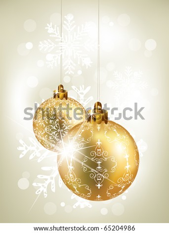Christmas background with golden balls - stock vector