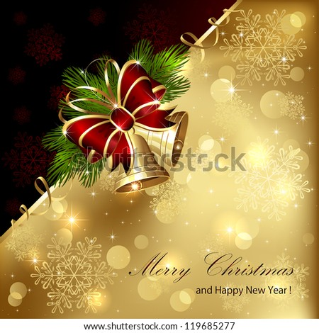 Christmas background with golden bells, bow and tinsel, illustration. - stock vector
