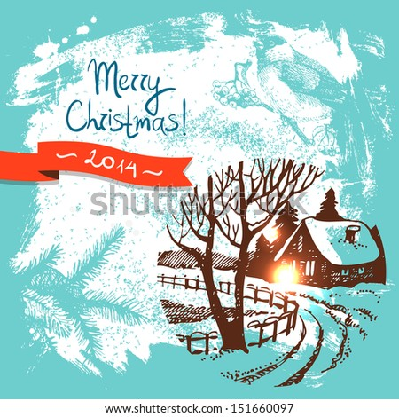 Christmas background with hand drawn illustration	 - stock vector