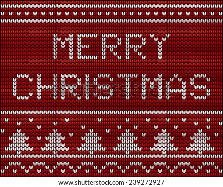 Christmas background with knitted pattern - stock vector