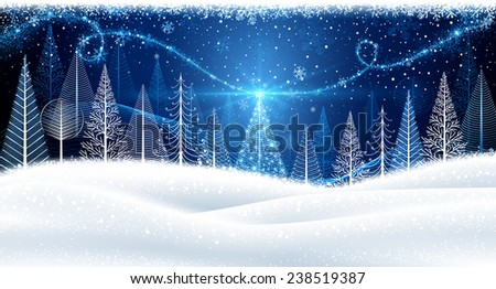 Christmas background with magic trees and snowflakes - stock vector