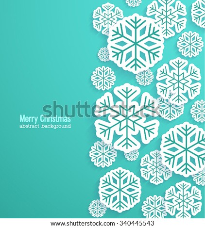 Christmas background with paper snowflakes. Vector illustration. - stock vector