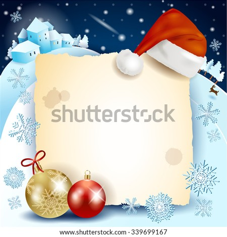 Christmas background with parchment, hat and baubles. Vector illustration  - stock vector