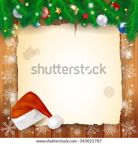 Christmas background with parchment, vector illustration  - stock vector