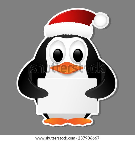 Christmas background with penguin. Vector illustration.   - stock vector