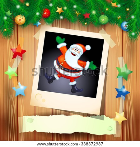Christmas background with photo of happy Santa, vector illustration  - stock vector