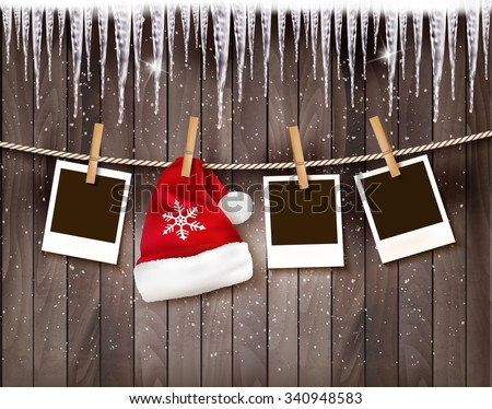 Christmas background with photos and a santa hat. Vector. - stock vector