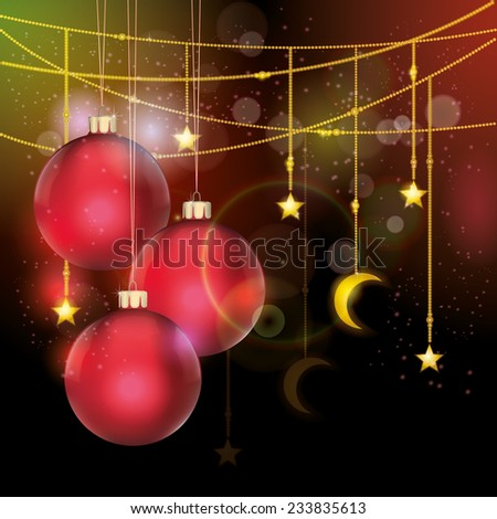 Christmas background with red balls and tinsel with stars and a crescent moon for your congratulations.  - stock vector