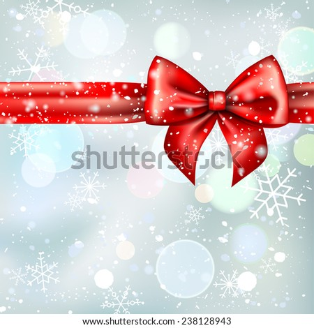 Christmas background with red bow and snowflakes. Template for design. - stock vector