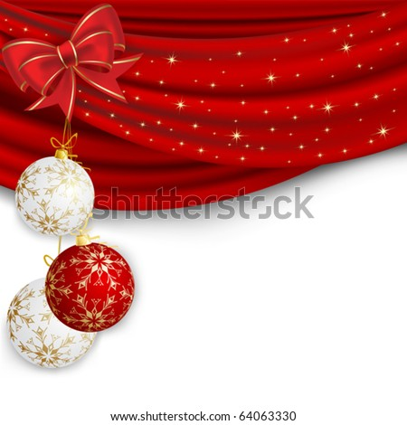 Christmas background with red curtain and ball - stock vector